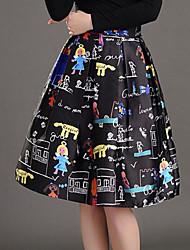 Women's Print Black Skirts,Street chic Knee-length