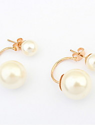 Super Hot Elegant Ladies Women Jewelry Double Side Shining Round Beads Imitation Pearl Stud Earrings