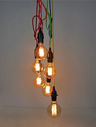6 têtes lumières pendentif rétro, avec interrupteur diy art salon salle à manger / entrée / lumière du couloir luminaire