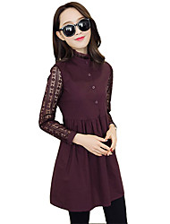 Women's Simple Patchwork A Line Dress,Stand Mini Polyester