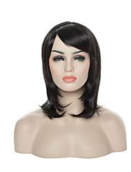 capless synthetische Perücke Seite bang lange Art und Weise gerade Dame sexy Haarperücken 2 Farben