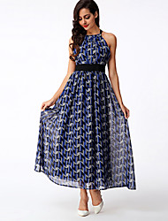 Women's Boho Print Swing Dress,Halter Maxi Polyester