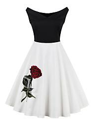 Robe Aux femmes Décontracté / Quotidien / Grandes Tailles Vintage,Couleur Pleine Col Arrondi Mi-long Sans Manches Blanc Coton / Polyester