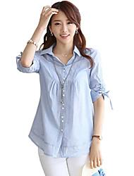 Women's Solid Shirt Collar ¾ Sleeve Loose A-line Casual Shirt