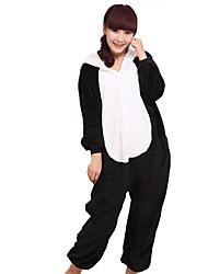 Kigurumi Pijamas Panda Malha Collant/Pijama Macacão Festival/Celebração Pijamas Animal Preto Miscelânea Flanela Kigurumi Para UnisexoDia