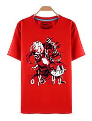 Inspiriert von Tokyo Ghoul Ken Kaneki Anime Cosplay Kostüme Cosplay-T-Shirt Druck Rot Kurze Ärmel Top