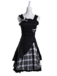 One-Piece/Dress Sweet Lolita Lolita Cosplay Lolita Dress White / Black Plaid/Check Sleeveless Short Length Dress For Women Cotton
