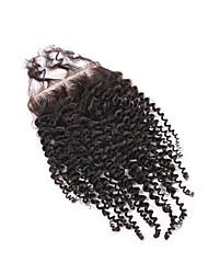 """8 """"-20"""" cierre rizado 100% del cordón del pelo humano de cierre 4x4 color natural rizado brasileño virginal"""