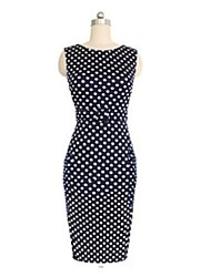 Monta Women's Sleeveless Polka Dots Round Collar Slim Dresses