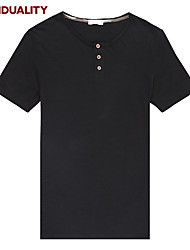 Trenduality® Hombre Escote Redondo Manga Corta Camiseta Negro / Blanco / Negro y Blanco-63022