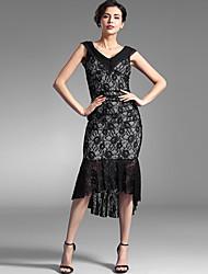 Baoyan® Damen V-Ausschnitt Ärmellos Knielänge Kleid-160001