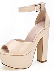 Women's Shoes Leather Chunky Heel Heels / Peep Toe / Platform Sandals Party & Evening  / Red / White / Nude