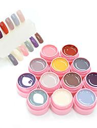 30611B New Nail Art Canni Factory 12 Colors Natural Series Color Gel 5ml Soak off Led  Gel