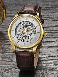 MOERS Masculino Relógio Elegante Automático - da corda automáticamente Gravação Oca Couro Banda Preta Marrom # 1 # 2 # 3 # 4