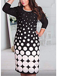 Women's Casual/Daily / Plus Size Simple Bodycon Dress,Polka Dot Round Neck Midi ¾ Sleeve Black Polyester Summer