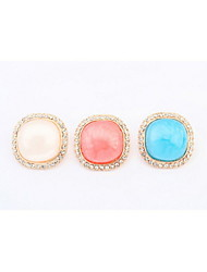 2016 New Hot Fashion Fine Jewelry Candy Colors Square Pierced Stud Earrings with Rhinestone