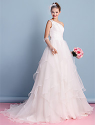 A-line Wedding Dress Court Train One Shoulder Organza with Beading