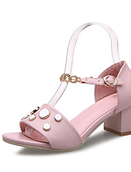 Women's Shoes Leatherette Spring / Summer / Fall Heels Wedding / Dress / Casual / Party & Evening Chunky Heel Pink / White