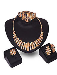 Бижутерия 1 пара сережек 1 браслет Ожерелья Кольца Свадьба Для вечеринок Сплав 1 комплект Женский Золотой Свадебные подарки