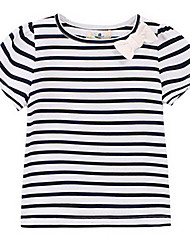Girl's White Tee,Stripes Cotton Summer / Spring