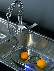 Contemporary Chrome Brass Personalized Single Handle LED Kitchen Sink Faucet - Silver