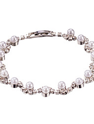 Pearl Rhinestone Crystal Tennis Bracelet Jewelry (One Size for All)