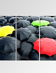 VISUAL STAR®Framed Wall Art for Home Decoration Colorful Umbrella among Black Giclee Print on Canvas Ready to Hang
