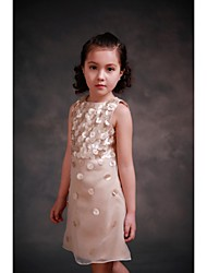 Sheath / Column Knee-length Flower Girl Dress - Organza / Satin Sleeveless Jewel with
