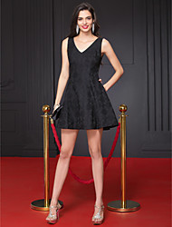 TS Couture® Prom  Cocktail Party Dress A-line V-neck Short / Mini Polyester with Bow(s) / Pattern / Print