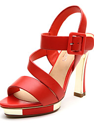 Aokang® Women's Platform High Heel Leather Sandals(red)