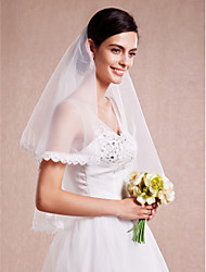 Ivory One Tire Elbow Wedding Veils with Lace Trim ASV12