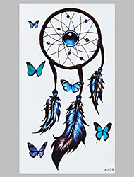 Partysu Blue Butterfly Indian Dreamcatcher Fashion Waterproof Tattoo Stickers