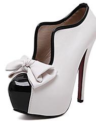Damen-High Heels-Lässig-PU-Stöckelabsatz-Absätze-Schwarz / Weiß / Fuchsie