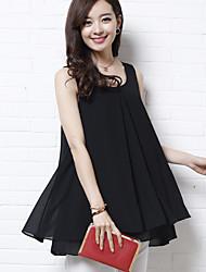 Women's Solid Pink / White / Black Blouse,U Neck Sleeveless
