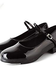 Non Customizable Kids' Dance Shoes Leatherette Leatherette Tap Oxfords Low Heel Beginner Black