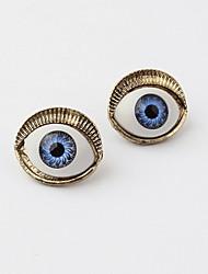 Playful Retro Punk Style Devil Evil Blue Eyes Statement Stud Earrings for Vintage Women