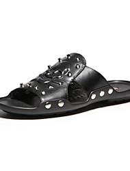 Aokang Men's Leather Sandals Black