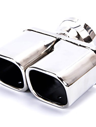 Car Stainless Steel 63 x 56mm Double Outlet Rolled Exhaust Muffler Tip  Silver Tone