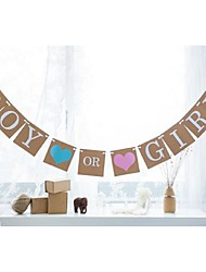 Vintage Kraft Boy Or Girl BLue Pink Heart Gender Reveal Baby Shower Birthday Party Banner
