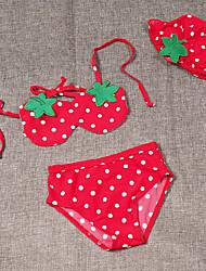 Menina de Conjunto / Roupa de Banho Poliéster Verão Vermelho
