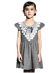 Girl's Red / Gray Dress,Bow Polyester Summer