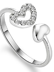 Sterling Silver Ring Heart Silver Plated Ring Adjustable Fashion Jewelry for Women Wedding Party Engagement Ring