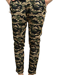 Women Pants Camouflage Print Side Zipped Pockets Elastic Waist Casual Trousers Tights Army