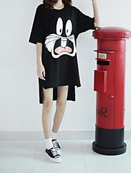 Damen Druck Einfach Lässig/Alltäglich / Übergröße T-shirt,Rundhalsausschnitt ½ Länge Ärmel Weiß / Schwarz Baumwolle Dünn