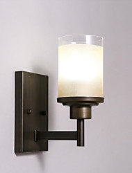 Brown Metal Wall Lights with Glass Shades, Living room Bedroom Dining Room  Kitchen Bar Cafe Hallway Balcony Lamp