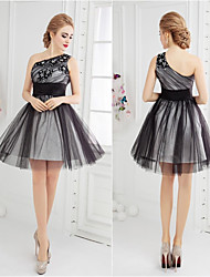 Cocktail Party Dress-Black Ball Gown One Shoulder Short/Mini Tulle