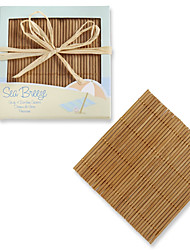 Beach Themed Bamboo Coasters (4pcs/box)