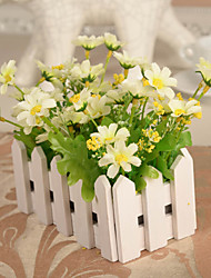 """5.5""""L 6.3""""H Country Style Multicolor Daisies in White Fence"""