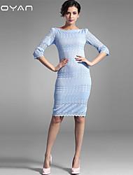 Baoyan® Femme Bateau Manches 1/2 Genou Robes-160021