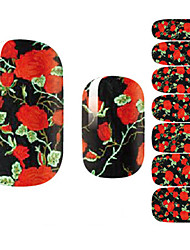Fashion Beautiful Black Night Rose Flower Nail Decal Art Sticker Gel Polish Manicure
